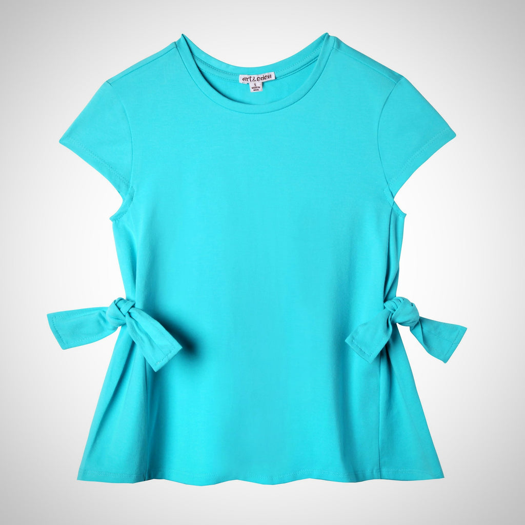 Art & Eden; Aqua girls spring top with bow tie on the waist; short sleeve; cap sleeve; must have;