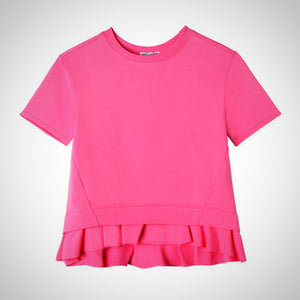 Pink Ruffled high low top for girls size 7 - 10; AKA kids; Spring fashion;