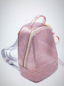 Rainbow Jelly Backpack; girls fashion; statement piece; grey straps; trendy