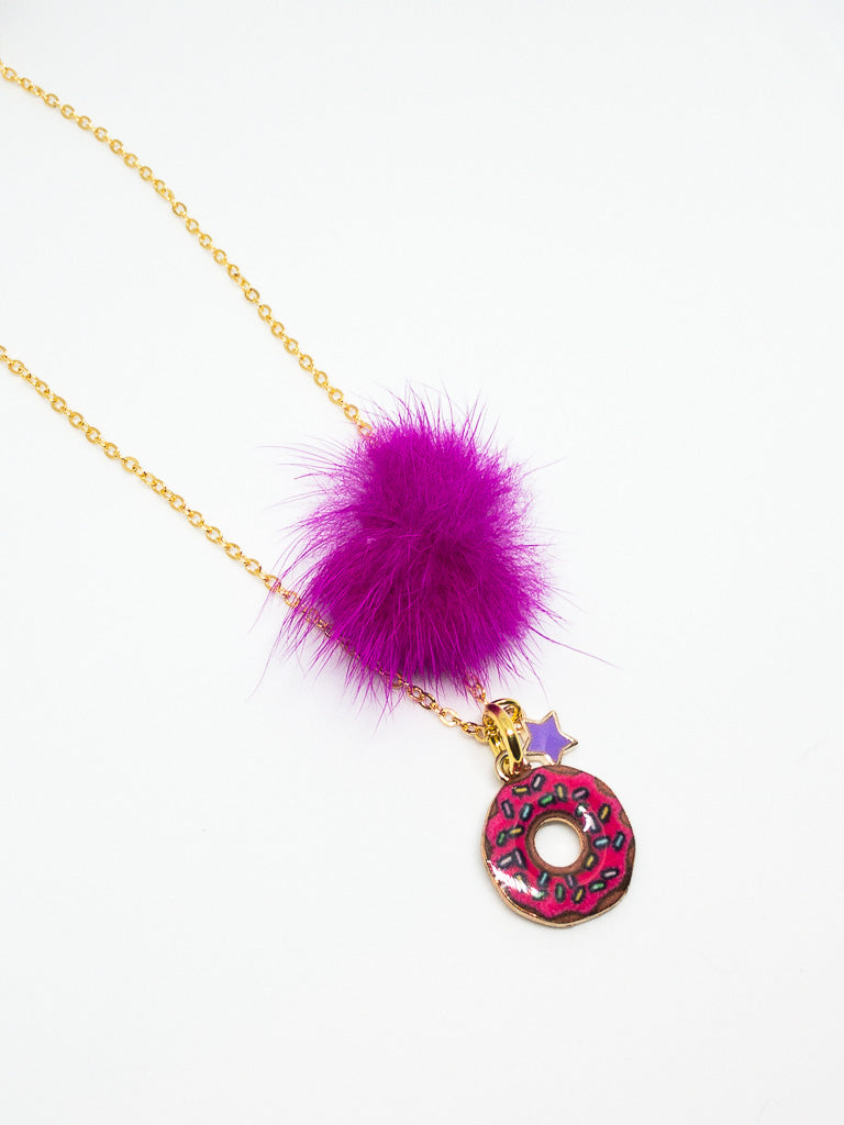 Hot Pink; Donut; Girls Necklace; Special Gift; Princess; hand made; unique