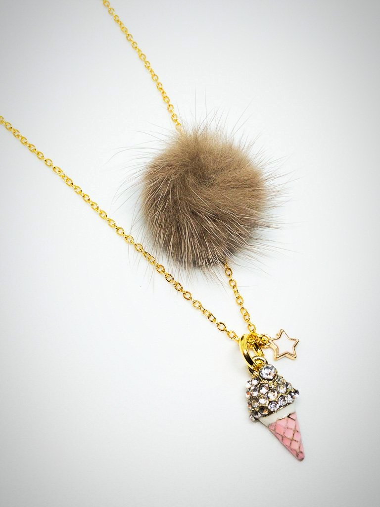 ice cream cone; necklace; heart me jewelry; beige pom-pom