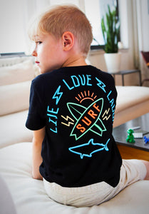 Black, Live, Love, Laugh and Surf; boys fashion; boys tee; must have