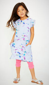 Grey Hummingbird dress for girls size 7-10; trendy; eco-friendly; style at play; sustainably made