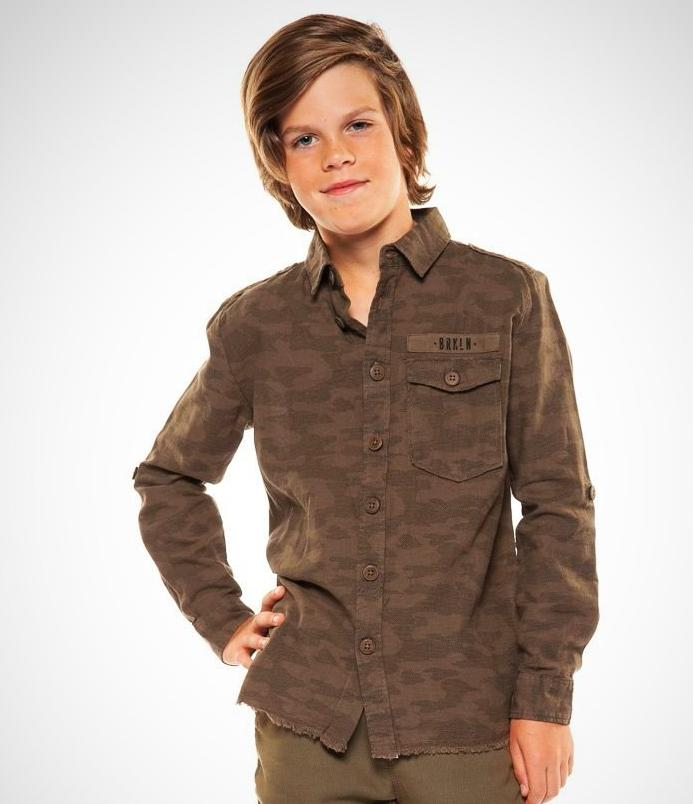 Boys; Spring fashion; organic cotton; Long sleeve light weight; camo shirt; olive green; Brooklyn; Dex