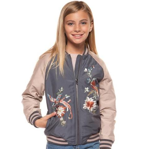 Tween Floral bomber jacket; girls; dusty rose | Unique Finds For Kids