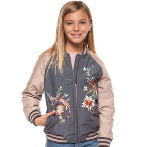 floral bomber jacket; girls; spring fashion; dusty rose, blush, must have; tween fashion