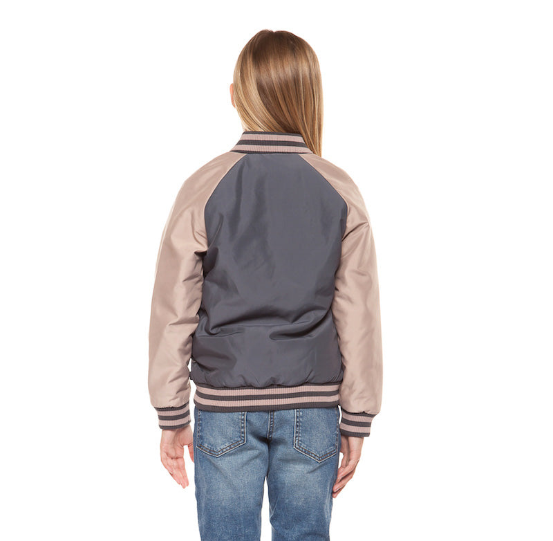 blush pink and gray bomber jacket; girls; spring must have