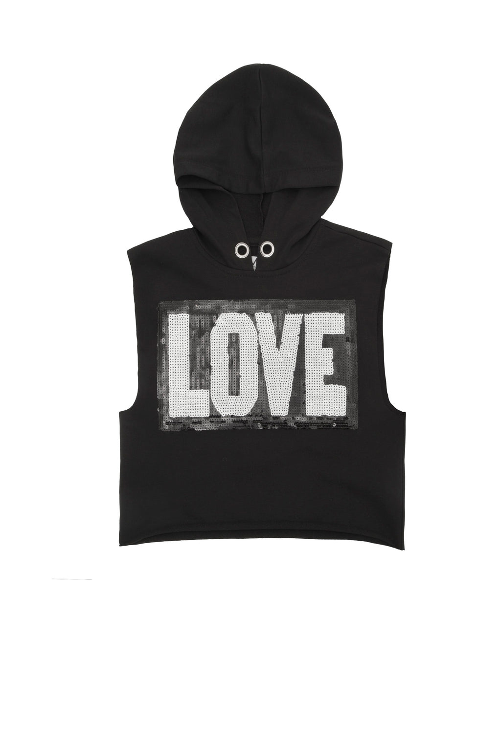 Black sleeveless hoodie with LOVE across the front_Unique Finds FOr Kids