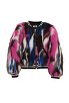 Multi color faux fur bomber jacket size 12 last one