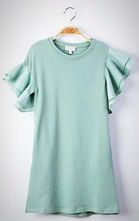 Asymmetrical girls dress; Mint green; short ruffled sleeve; spring fashion;