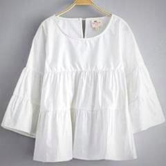 White; long bell sleeve top; A-line; Spring girls fashion; boho chic