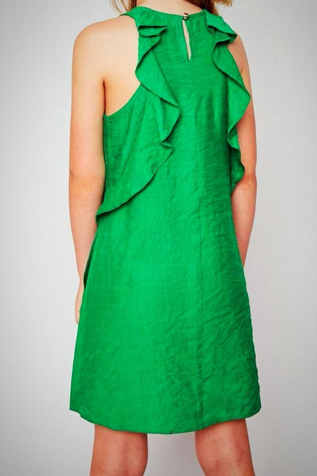 Ruffled Shift Dress, Green | Unique Finds for Kids