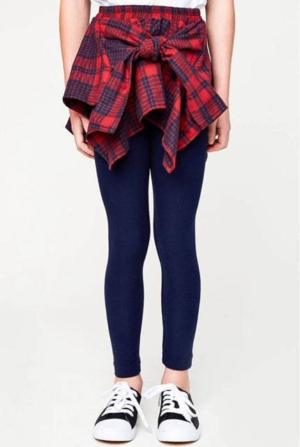 Plaid; leggings; unique leggings for girls; red and navy blue