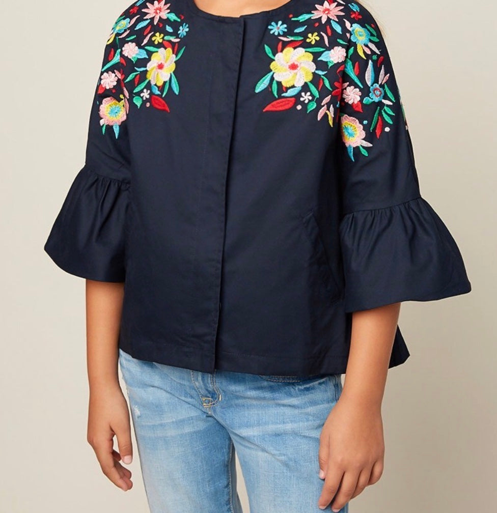 Navy floral Jacket  with front silver zipper and bell sleeve; spring fashion; must have