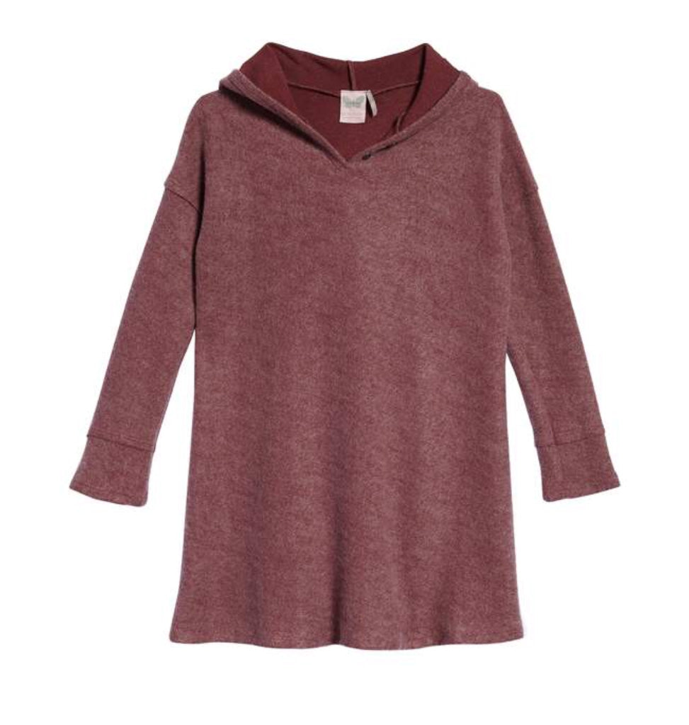 Ultra soft hooded girls top; For All Seasons; Dusty Rose; Mauve