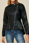 Black hi- low faux leather jacket for women Unique Finds For Kids