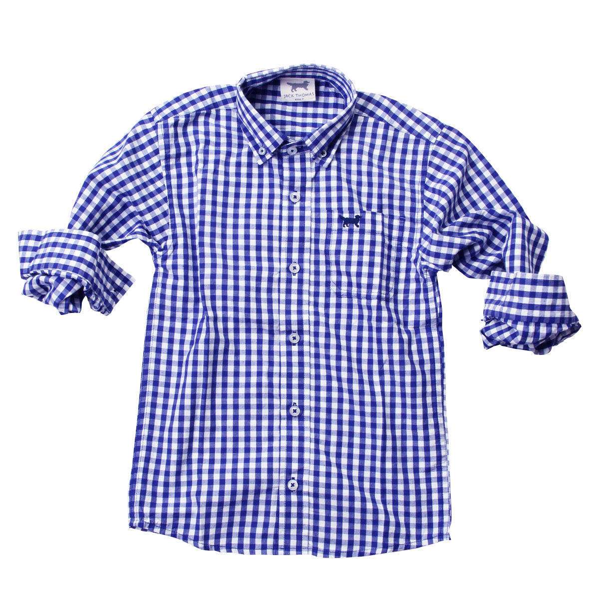 Blue button front long sleeve shirt; soft organic cotton; boys shirt