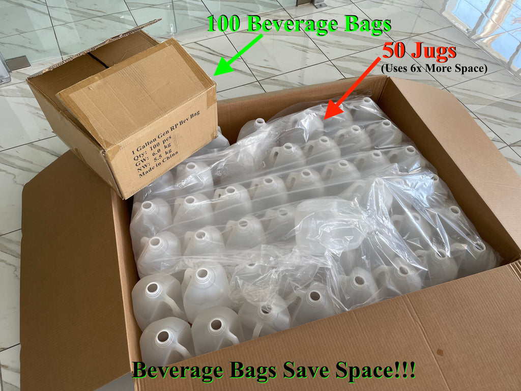 Beverage Bags Save Space Compared to Plastic Jugs