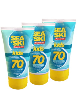 Sea & Ski SPF 70 Kids Reef Friendly Lotion 3.4 OZ Squeezable Tube (3 Pack)