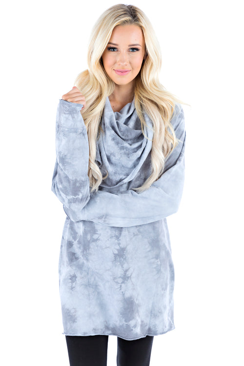 Hooded Cowl Tunic Crystal - LVR Fashion