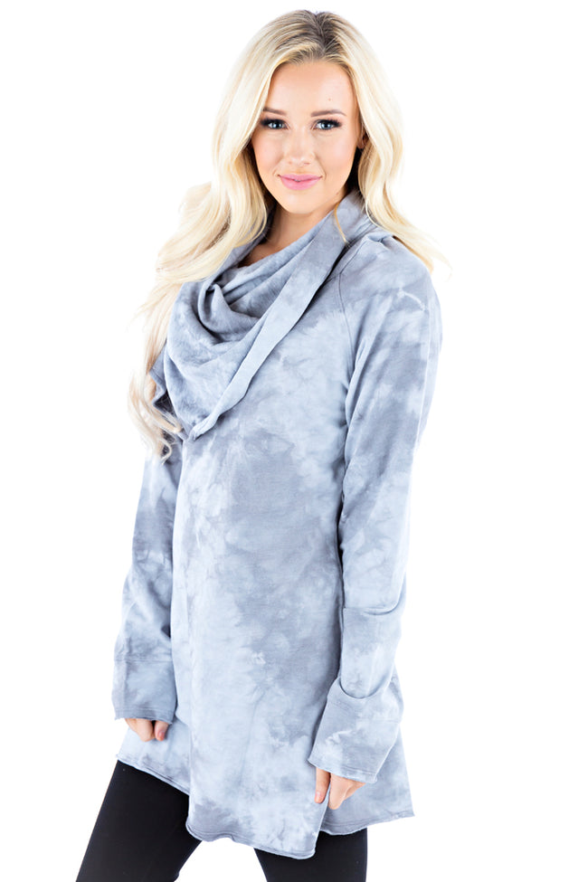 Pullover Cowl Tunic Crystal - LVR Fashion