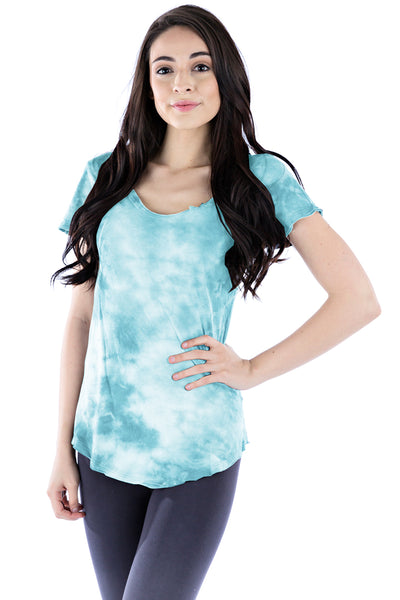 Short Sleeve Scoop Tee Crystal - LVR Fashion