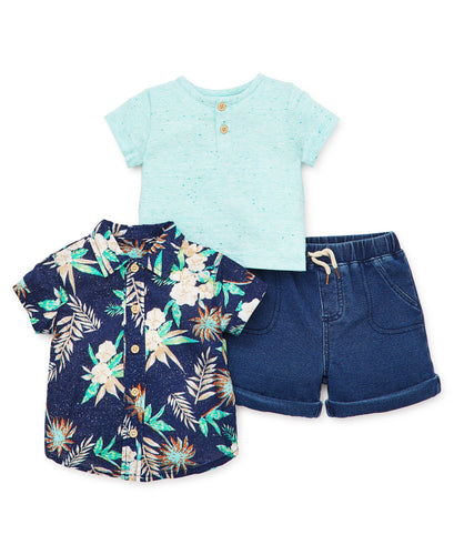 Set de 2 playeras y short / tropical