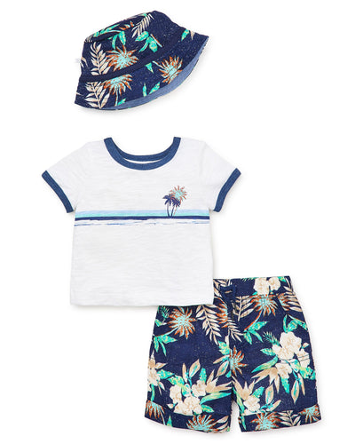 Short con playera y sombrero / tropical
