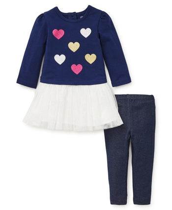 Playera tutu con leggings / corazones