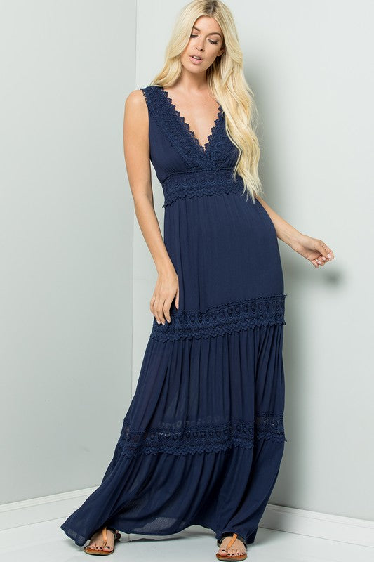 Navy Crochet Lace Maxi Dress