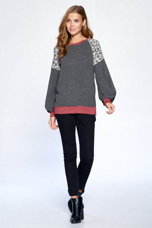 Charcoal Top With Leopard Contrast