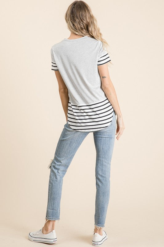 Gray Striped Top With Leopard Pocket