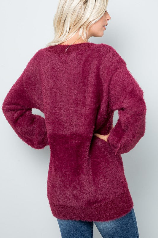 Wine Soft and Fuzzy V Neck Sweater