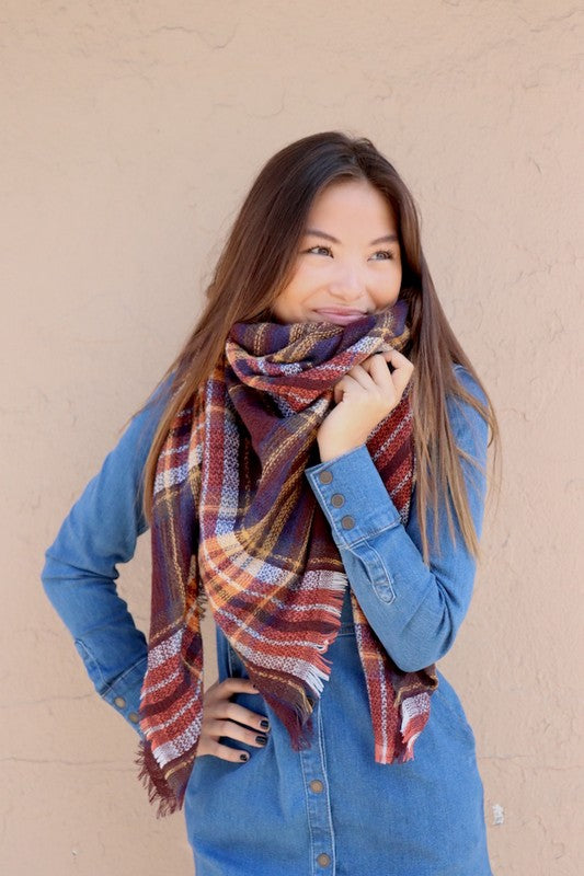 Rust and Mustard Blanket Scarf