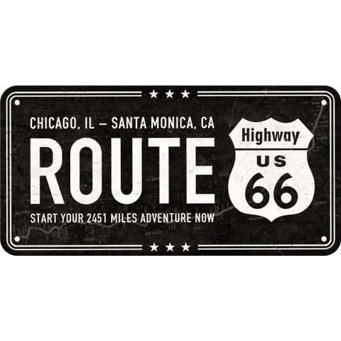 Cartello con filo Highway 66 Black