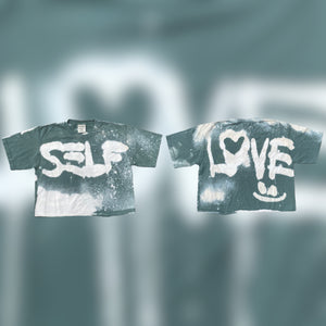 SELF LOVE BLEACH'D CROPPED TEE