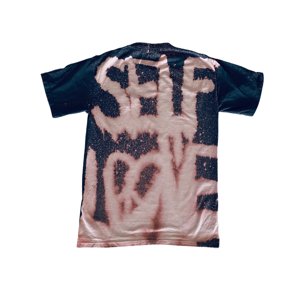 SELF LOVE BLEACH'D TEE - CHARCOAL GREY