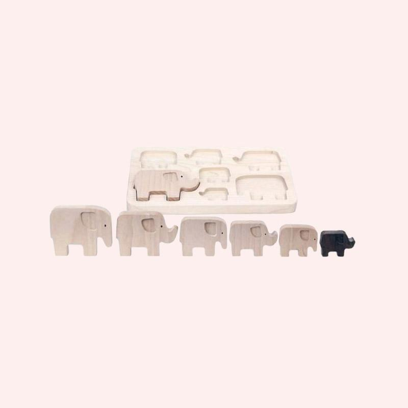 Wooden Elephant Puzzle Stacker