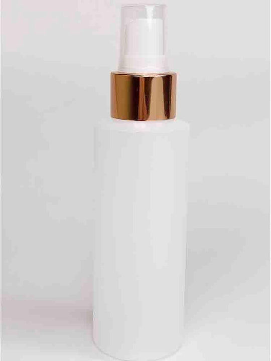 Cylinder Round HDPE White Bottle With Rose Gold Pump
