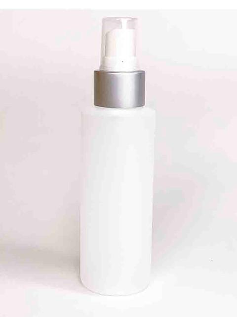 Cylinder Round HDPE White Bottle With Silver Pump