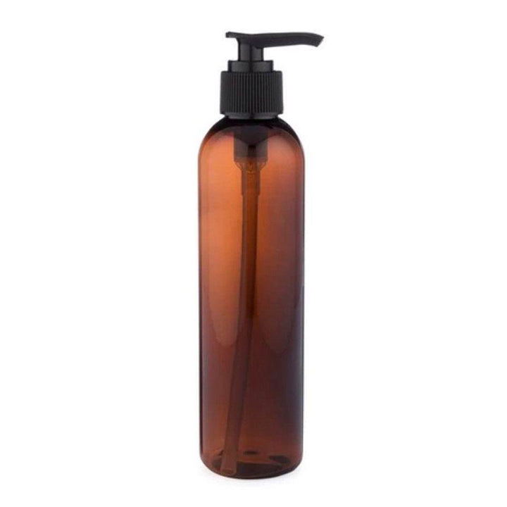 amber PET plastic bottle with black pump