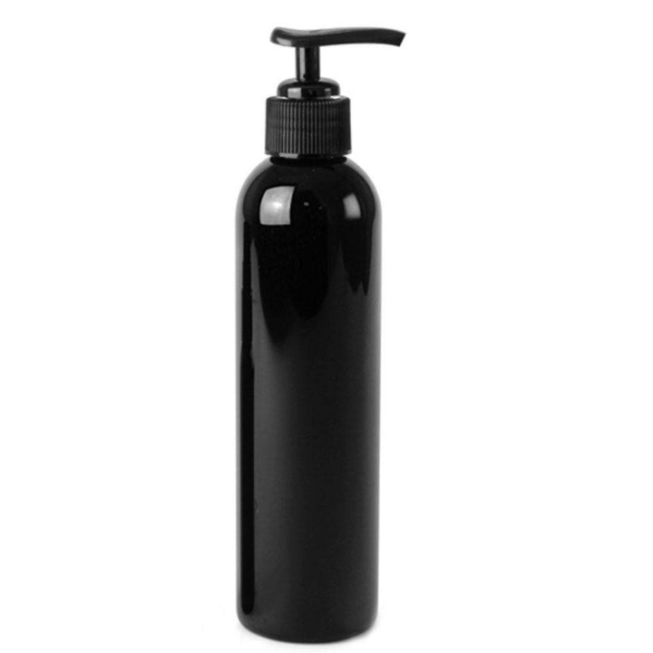 black PET plastic bottle with black pump