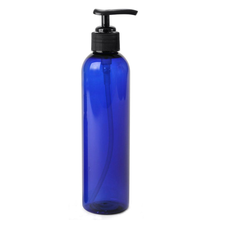 cobalt blue PET plastic bottle with black pump