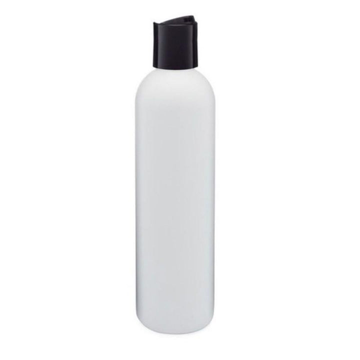 white PET plastic bottle with black disc cap