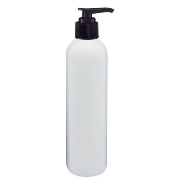 white PET plastic bottle with black pump