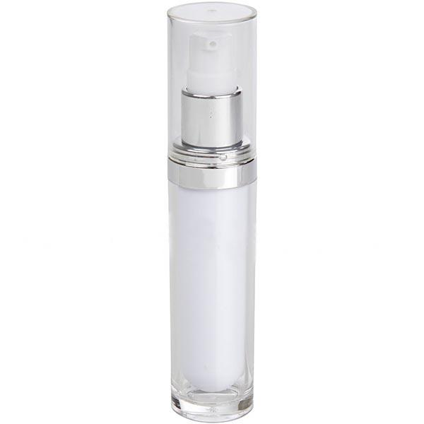 White Acrylic Bottle -  Clear Cap -  Shiny Silver Collar (From Vienna Collection)
