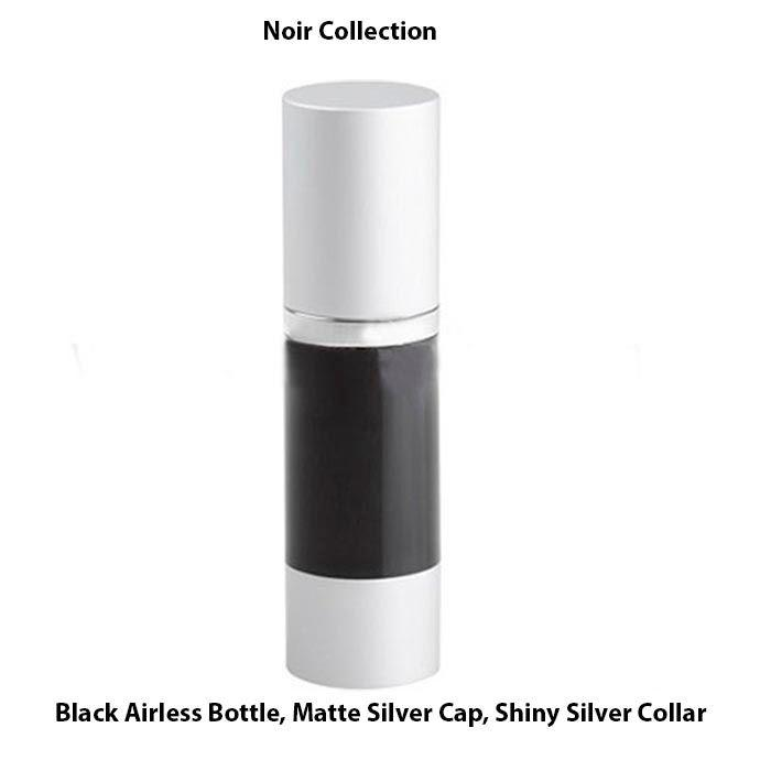 Black Airless Bottle - Matte Silver Cap - Shiny Silver Collar