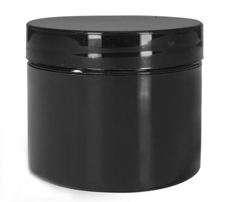 Black Double Wall Plastic Jar - Black Cap (From Basic Collection)