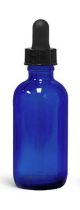 Cobalt Blue Glass Boston Round Bottles with Black Glass Dropper