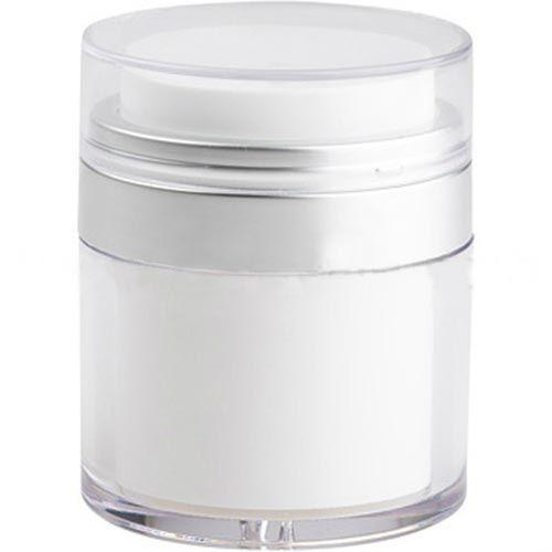 White Airless Jar - Clear Cap - Matte Silver Collar (From Everest Collection)